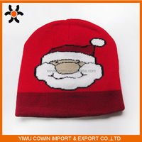 High quality 100% Acrylic unique knitted Santa Claus christmas hats xmas soft decoration cap