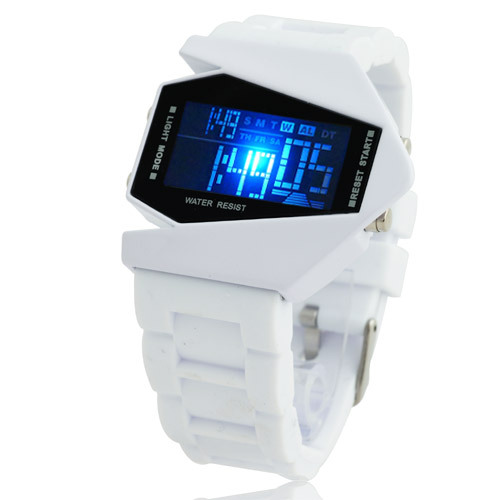 Hot Sale Luxury Fashion & Sports Unisex  Digital Wrist Watch White Rubber Band 7 LCD Color Light Switch Airplane Shape