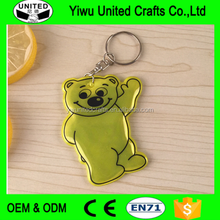 double sides logo printed cheap pvc reflective keychain , bear shpaed reflective keyring , promotional key chains