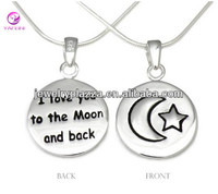 "925 Sterling Silver Jewelry Wholesale ""I Love You to the Moon and Back"" Pendant Necklace"