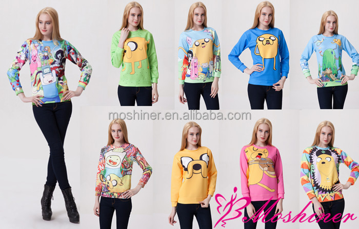Wholesale bulk hoodies New Harajuku Adventure Time 3D Print Women Cute Sweatshirt Hoody Spring Autumn Pullover custom hoodies