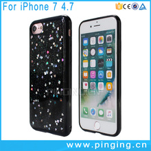 Small heart-shaped star flash powder epoxy resin tpu silicone phone case for iphone 7