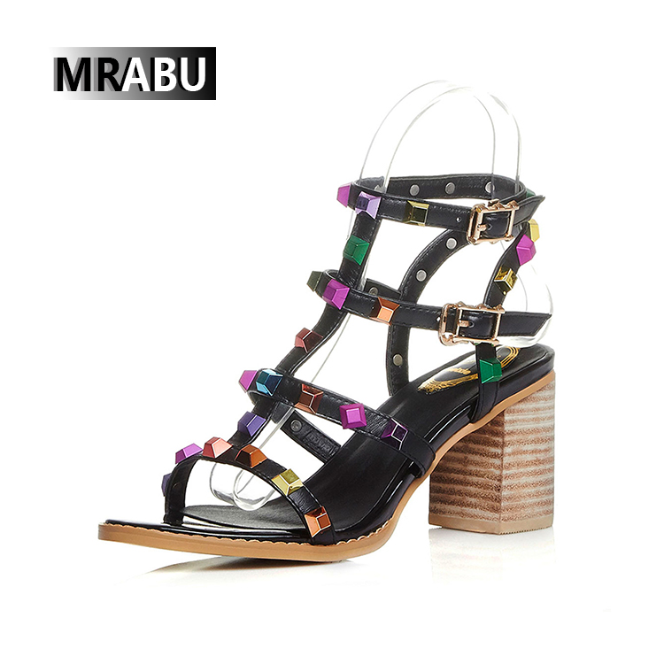 Rivets Rhinestones Buckles Stacked high heel Rome Gladiator leather shoes girls sandals