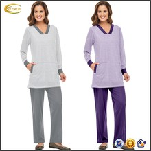 Ecoach Wholesale OEM Women Relaxed V-Neck Solid Trim Striped top Plain Color pants Elastic Drawstring Waistband Pajamas