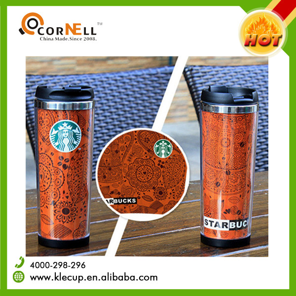 double wall stainless steel tumbler with customized removeable insert paper coffee cup mug with lid toxic free 400ml