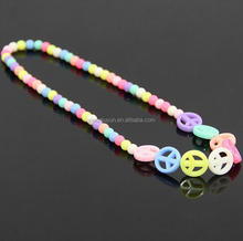 New Colorful Sweet Candy Color Peace Sign Bead Promotional Children Jewelry Necklace