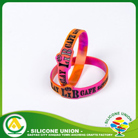 Colour filled debossed silicone rubber wristbands bracelets