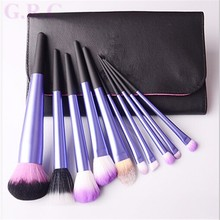 Latest products Matt Alminium ferrule make up brushes, Soft Synthetic hair makeup brushes, 10 pcs Professional Make up brush set