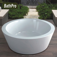 Small size acrylic pure white one-piece round bathtub