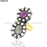 DGRN-335 14k Yellow Gold Multi Saphire 925 Sterling Silver Elegant Pearl Gemstone RIng