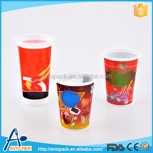 Colorful plastic PP food packaging supplies cookie cup with sauce plate