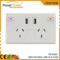 Australia/New Zealand plugs dual 2 Gang dual 2 Electrical USB wall power socket 250V 10A with SAA approval
