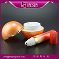 srs 2016 new product 1.76 oz plastic ball shape cream jar and 0.35 oz airless roll-on bottle skin care cream packaing set