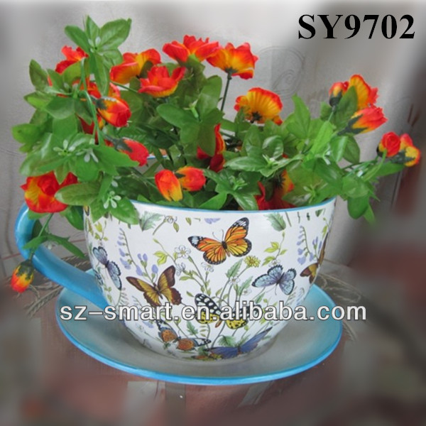 With saucer ceramic pot colorful tea cup flower pot, View colorful ...