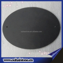 Oval shape natural slate material black stone dinner board round cheese plate