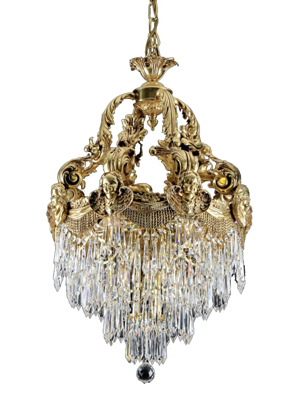 Rococo Style Crystal & Golden Brass Chandelier For Living Room Hotel Hall/ Elegant Crystal Chandelier Decorated Pendant Lamp