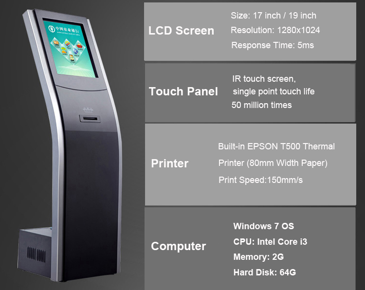 Wireless touch kiosk management queue ticket call display system