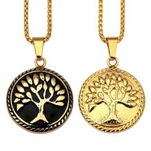 Hot Sell Gold And black Small Round Dual Life Tree Pendant Necklace
