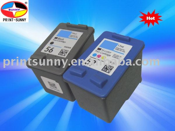 Recycled black inkjet cartridge for HP56A/57A/6656A/6657A