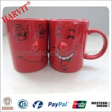 Wholesale Water Cup Mugs/Cheap In Bulk Stoneware Mugs/Red Mug with Smile Face