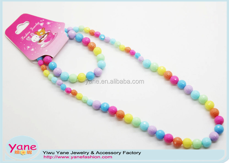colorful kids plastic jewelry set,wholesale fashion necklace and bracelet