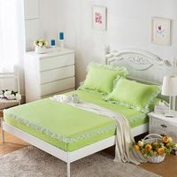 3-Pieces Lace Edge Cotton Bed Sheet Sets Fitted Bed Sheet Queen Size King Size Bed Sheet With An Elastic Band Mattress Protector