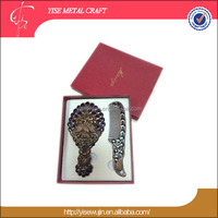 luxury gift set hand mirror with comb / peacock theme mirror gift/ carving artwork makeup mirror gift set