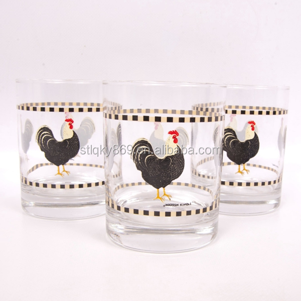 Rooster Drinking Glasses Short Glass Set of 3 Black Red Old Fashion Barware Glass Cups