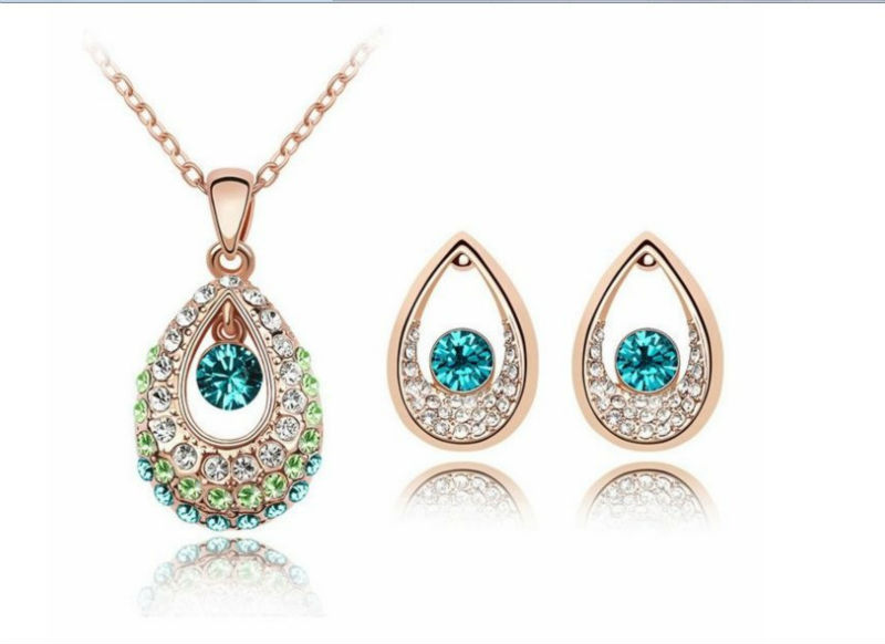 Crystal Jewelry Set Make With Svarovski Crystal Earrings+Necklace #88897