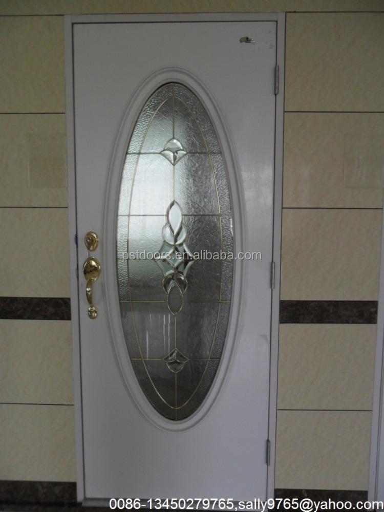 Puerta de metal con vidrio peque o valo color blanco 3 for Puertas de metal con vidrio