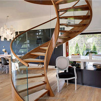 Safe&Strong Double Sawtooth Stringer Prefabricated Residential Curved Stairs