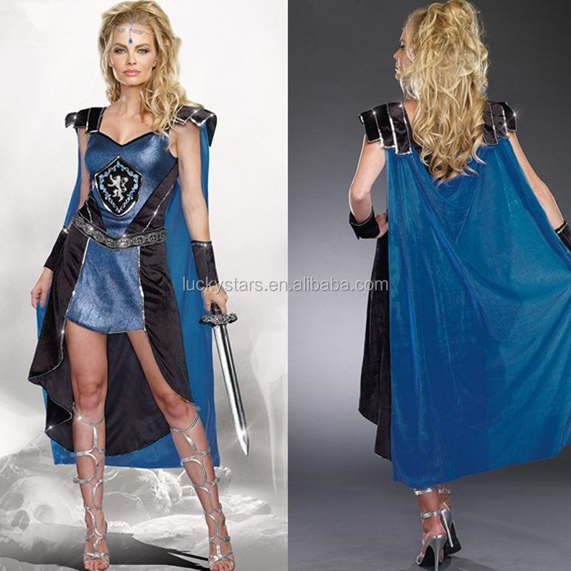 Best sell medieval film role hero warriors leader girl masquerade Carnival party cosplay costume with long cloak for promotion