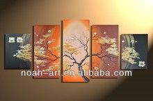 5pcs a set canvas flower group oil painting by handmade