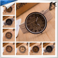 Free Shipping 2015 Wooden Relojes Quartz Men Watches Casual Wooden Color Leather Strap Watch Wood Male Wristwatch Relogio LW012