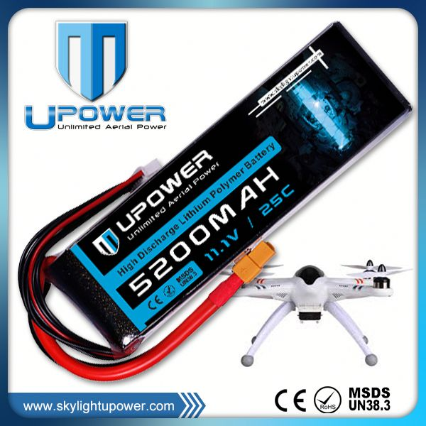 Upower 11.1v 2200mah 22.2v 13000mah drone/fpv/rtf multi- rotor rc lipo battery pack with Universal Plug System