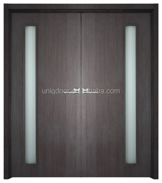 Double solid core wood flush doors with one glass panel door design