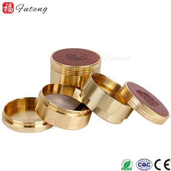 50mm 4layers Golden unique wholesale zinc tobacco grinder