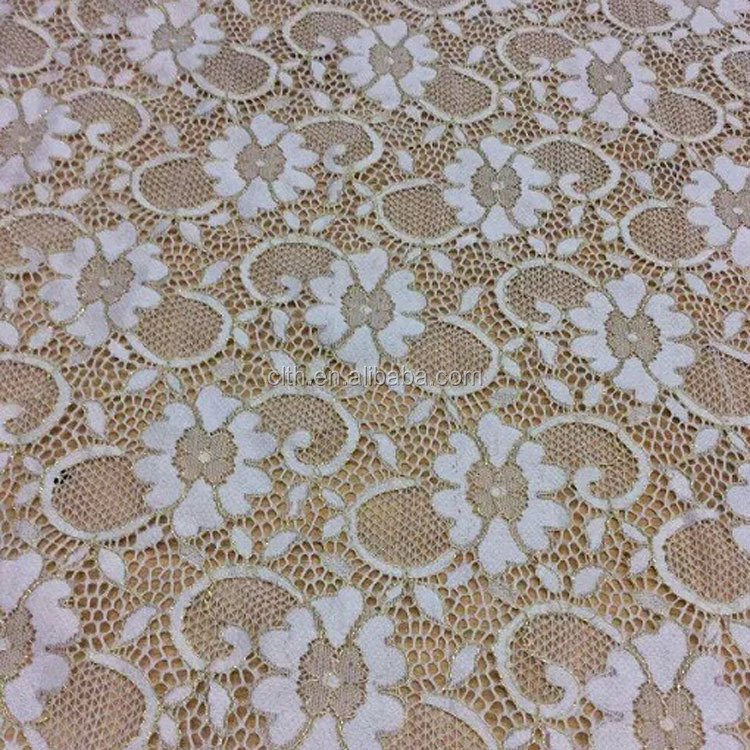 8802 knitted nylon spandex lace fabric with gold yarn