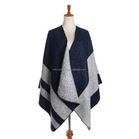 High Quality Brand Designer Ladies Cashmere Desigual Scarf Wrap Navy Gray Striped Pashmina Large Shawl Fashion Warm in winter
