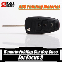 KUST 3 Buttons Flip Remote Folding Key Case ABS Material Car Key Cover For Focus 3 Car Key Shell