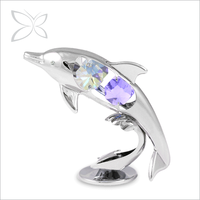 Imperial Trendy Chrome Plated Crystals Dolphin Crystal Figurine