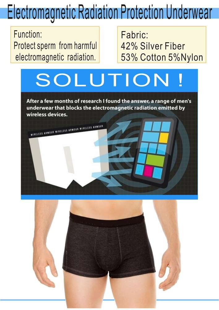 Silver Fiber WIFI Electromagnetic Wave Protection Underwear For Men
