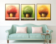 Colorful Flower Three-picture combination Newest Design bedroom living room Hand painted Oil Painting