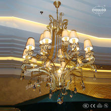 Luxury bronze finished 16 light K9 crystal contemporary large chandeliers with white alabaster shade for hotel or villa ETL84031