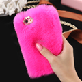 Top seller 7 colors wholesale Cozy rabbit fur phone case for iphone 5s 4s 6 6 plus for girl fur phone case hotsale in russia