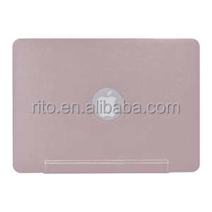 "Wholesale Silk Fiber PU Leather Sleeve Shell Case for Apple Macbook Air 11"" Case, Metallic Pink"