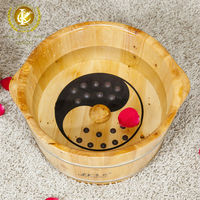 Natural color , cedar material and reflexology wooden foot spa basin