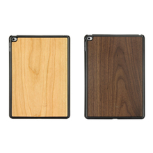 Plastic bottom wood case real natural wooden phone shell blank wood back case for iPad air 2