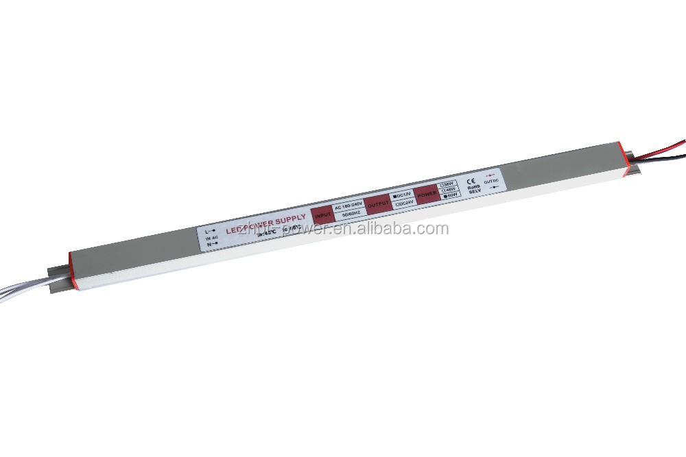 24V 2.5A 60W Constant Voltage Slim LED Driver for Advertising Light Box and Signs Boards