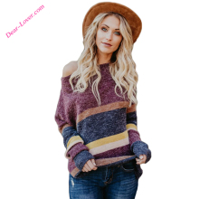 Red Winter Latest Colorblock Striped Wool Girls Sweater Design